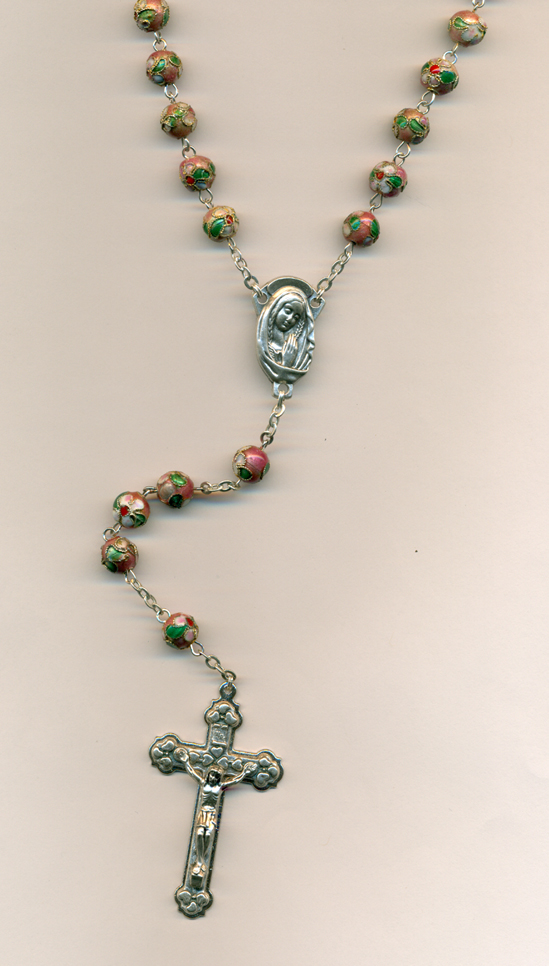 Rose Genuine Cloisonne Rosary Boxed