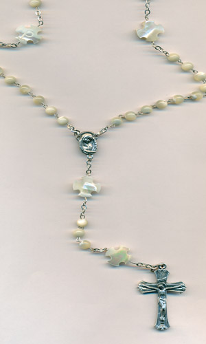5mm Genuine Mother of Pearl Rosary