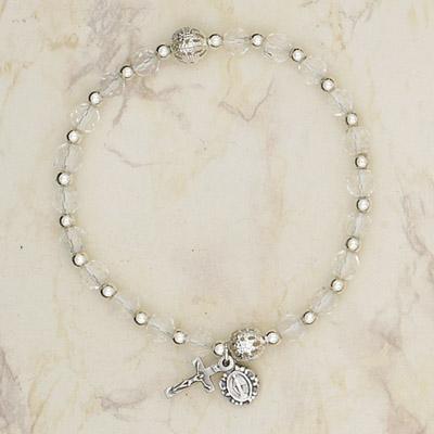4-Pack - Italian Glass Stretch Rosary Bracelet - Clear
