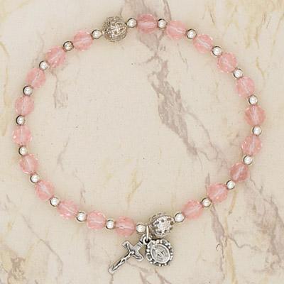 4-Pack - Italian Glass Stretch Rosary Bracelet -Rose