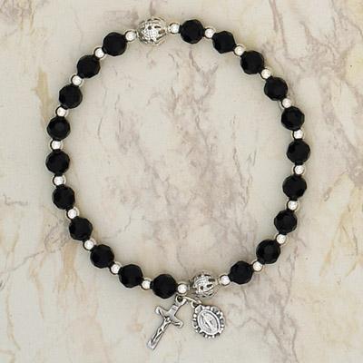 4-Pack - Italian Glass Stretch Rosary Bracelet - Black
