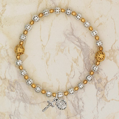 4-Pack - Italian Glass Stretch Rosary Bracelet - 2 Toned Gold /Silver