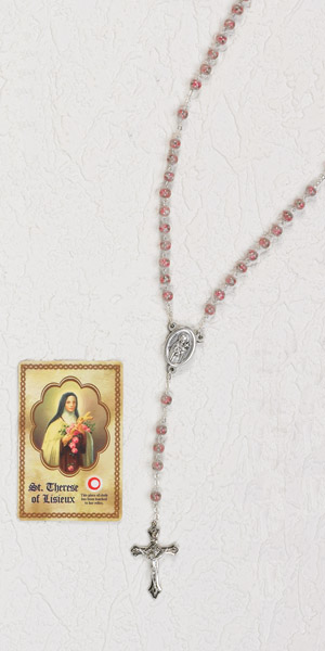 Rose Glass Rosary with Center of St Therese of Lisieux and third class relic