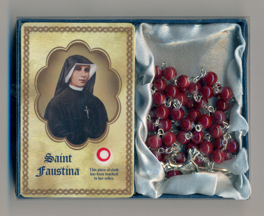 Divine Mercy Rosary and Relic Prayer Card (St Faustina)