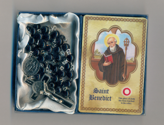 St Benedict Rosary & Relic Prayer Card