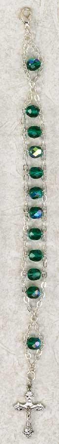 Crystal Ladder Rosary Bracelet - Green