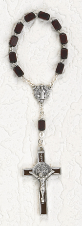8mm Black Wood St Benedict Decade Rosary