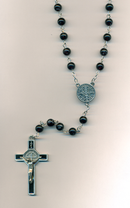 7mm Black Glass St Benedict Rosary (Boxed)