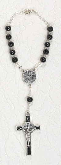 7mm Black Glass St Benedict Auto Rosary