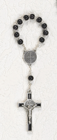 7mm Black Glass St Benedict Decade Rosary