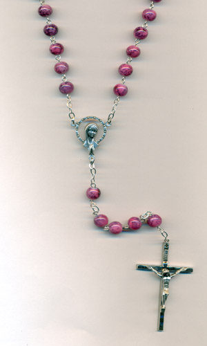 7mm Rose Deluxe Quartz Multi Pattern Imitation Stone Rosary (Boxed)