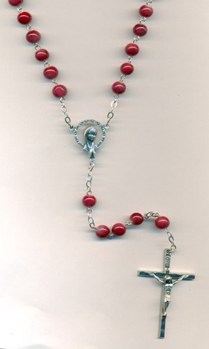 7mm Red Deluxe Agate Multi patern Imitation Stone rosary Boxed