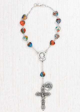 4-Pack - Murano Heart Shaped Bead Auto Rosary with clasp