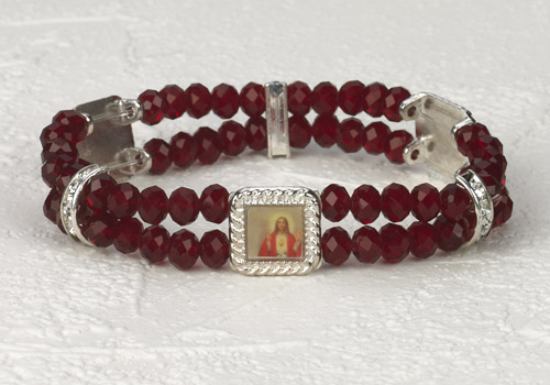 Sacred Heart Crystal double Strand Bracelet