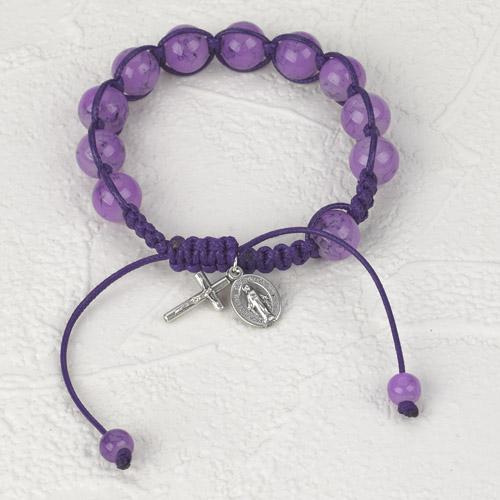 6-Pack - Slip knot bracelet- Amethyst