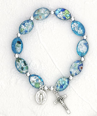 Murano Oval Glass beads bracelet - Blue