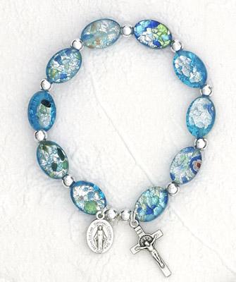 Murano Oval Glass beads bracelet - Blue