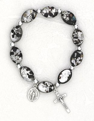 Black Oval Murano Glass Rosary Bracelet