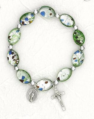 Green Oval Murano Glass Rosary Bracelet