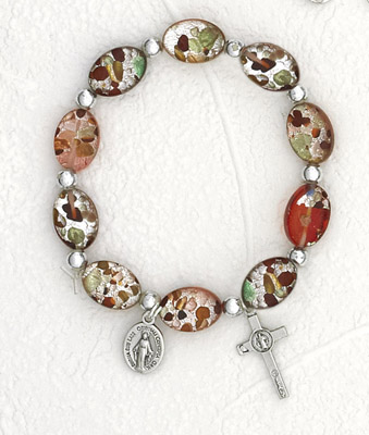 Red Oval Murano Glass Rosary Bracelet