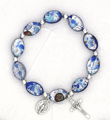 Dark Blue Oval Murano Glass Rosary Bracelet
