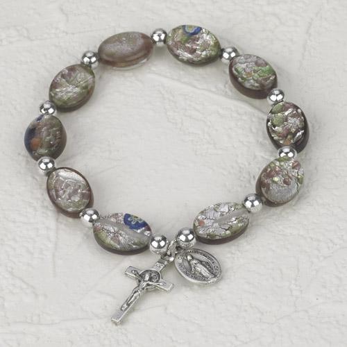 Amethyst Oval Murano Glass Rosary Bracelet