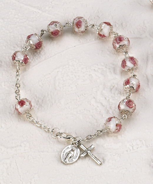Rose Crystal Rose Bracelet with Hand Painted Rose