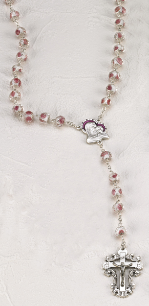 Rose Crystal Rose 8mm Rosary with Hand Painted Rose