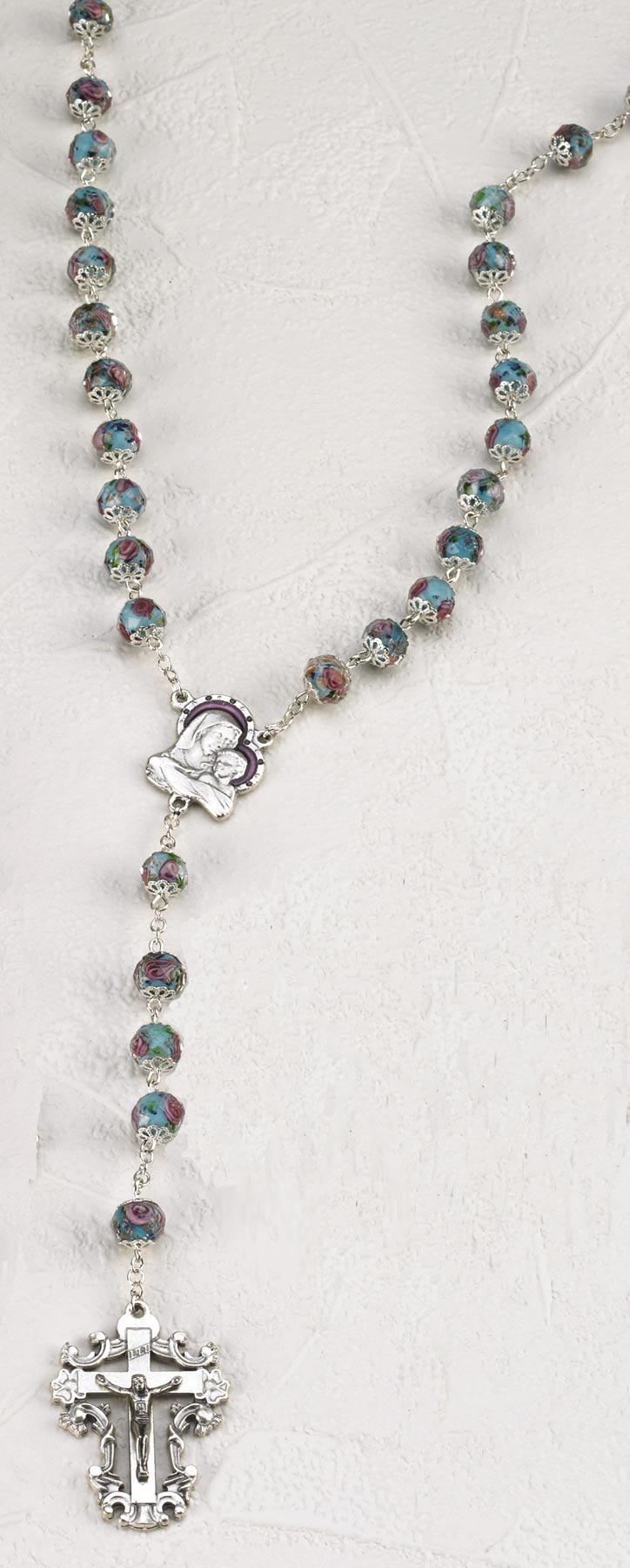 Light Blue Crystal Rose 8mm Rosary with Hand Painted Rose