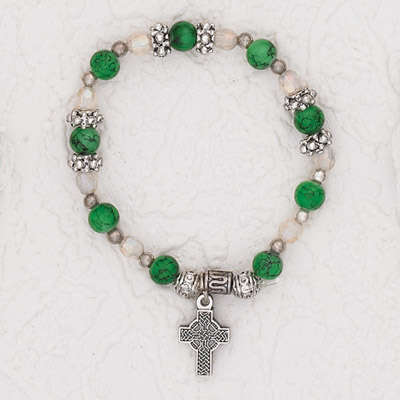 3-Pack - Green Stretch Bracelet with Celtic Cross Charm