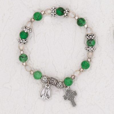3-Pack - Green Stretch Bracelet with a Pendant of St Patrick and Celtic Cross Charm