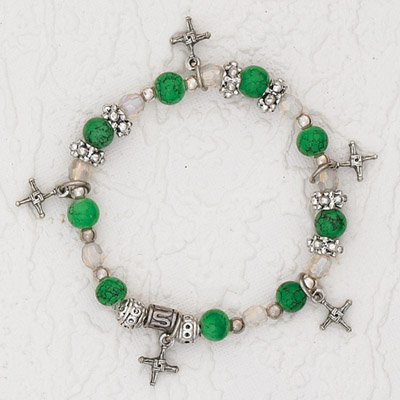 3-Pack - Green Stretch Bracelet with a series of St Brigid's Cross Charms