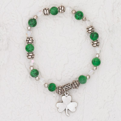 3-Pack - Green Stretch Bracelet with Shamrock Charm