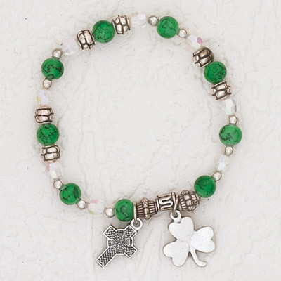 3-Pack - Green Stretch Bracelet with a Celtic Cross and Shamrock Charm