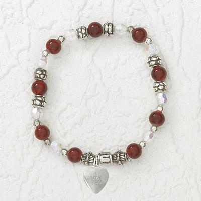 4-Pack - Italian Stretch Bracelet with Heart Charm- Garnet