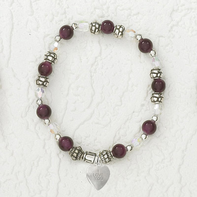 4-Pack - Italian Stretch Bracelet with Heart Charm- Amethyst