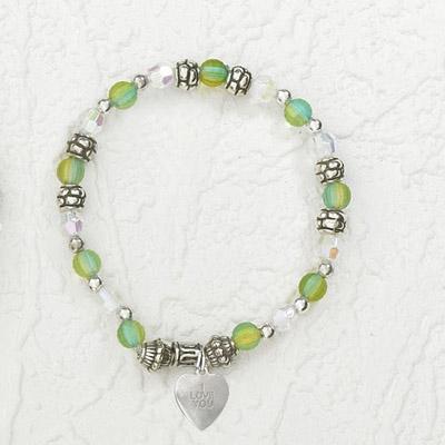 4-Pack - Italian Stretch Bracelet with Heart Charm- Aquamarine
