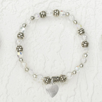 4-Pack - Italian Stretch Bracelet with Heart Charm- Diamond