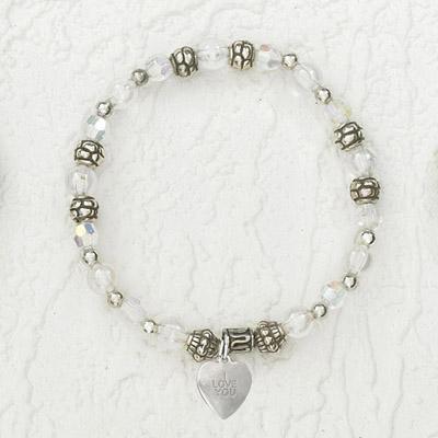 4-Pack - Italian Stretch Bracelet with Heart Charm- Diamond
