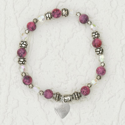 4-Pack - Italian Stretch Bracelet with Heart Charm- Ruby