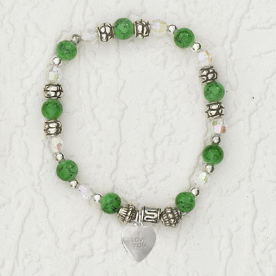 4-Pack - Italian Stretch Bracelet with Heart Charm- Peridot