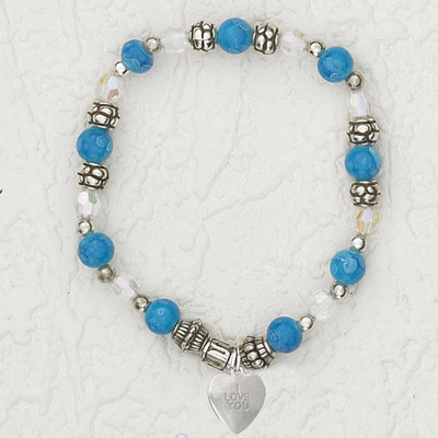 4-Pack - Italian Stretch Bracelet with Heart Charm- Sapphire