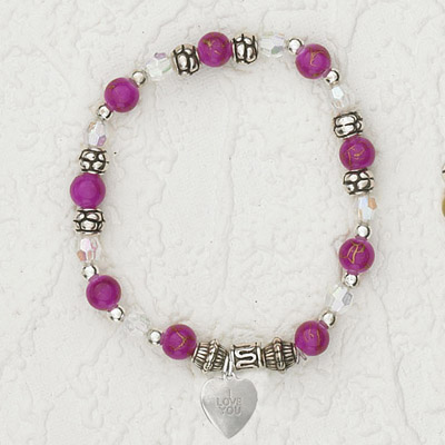 4-Pack - Italian Stretch Bracelet with Heart Charm- Pink Opal