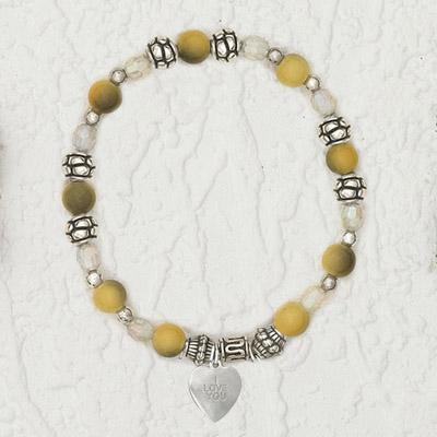 4-Pack - Italian Stretch Bracelet with Heart Charm- Topaz