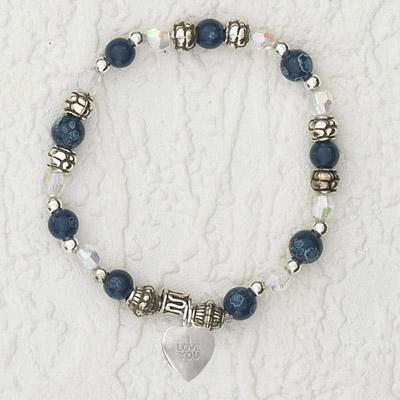 4-Pack - Italian Stretch Bracelet with Heart Charm- Blue Topaz