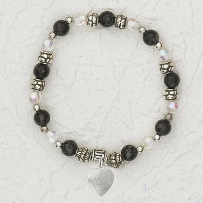 4-Pack - Italian Stretch Bracelet with Heart Charm- Black
