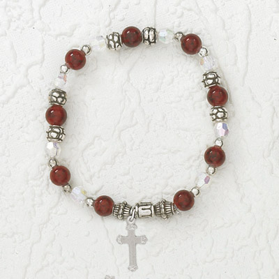 4-Pack - Italian Stretch Bracelet with Cross Charm- Garnet