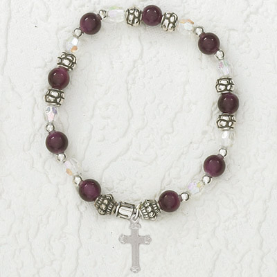 4-Pack - Italian Stretch Bracelet with Cross Charm- Amethyst