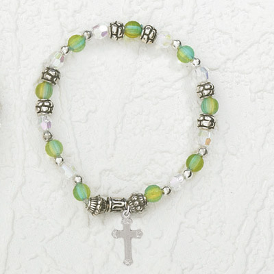 4-Pack - Italian Stretch Bracelet with Cross Charm- Aquamarine