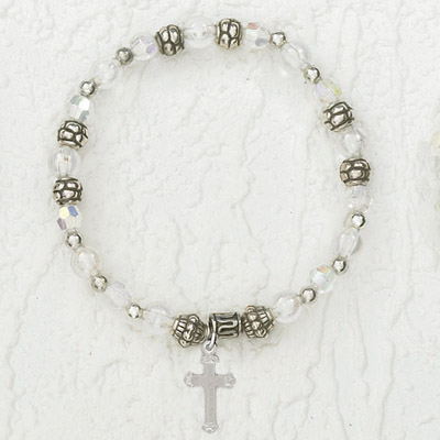 4-Pack - Italian Stretch Bracelet with Cross Charm- Diamond